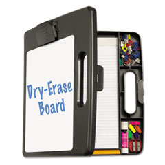 "Portable Dry Erase Clipboard Case, 4 Compartments, 1/2"" Capacity, Charcoal"
