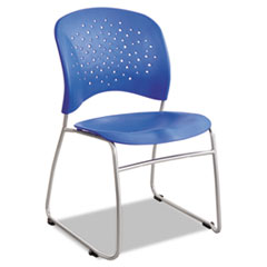 Rêve Series Guest Chair With Sled Base, Lapis Plastic, Silver Steel, 2/Carton
