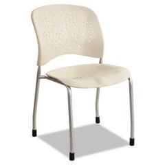 Rêve Series Guest Chair W/ Straight Legs, Latte Plastic, Silver Steel, 2/Carton