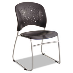 Rêve Series Guest Chair With Sled Base, Black Plastic, Silver Steel, 2/Carton
