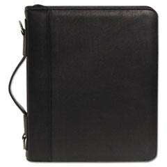 Zip-Around Cal-Q Folio, Smooth Cover, Calculator, 3-Ring, Pad, Pocket, Black