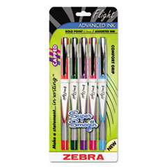 Z-Grip™ Flight Stick Ballpoint Pen, Assorted, 5/Set