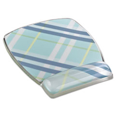 Fun Design Clear Gel Mouse Pad Wrist Rest, 6 4/5 x 8 3/5 x 3/4, Plaid Design