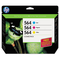 HP 564, (B3B33FN) 3-pack Cyan/Magenta/Yellow Original Ink w/Photo Paper
