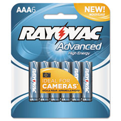 Alkaline High Energy Batteries, AAA, 6/Pk