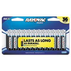 Alkaline Batteries, AA, Peggable Large Card, 36/Pk