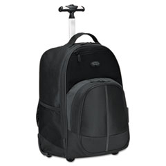 Compact Rolling Backpack, 19 1/3 x 7 1/2 x 13 4/10, Polyester, Black