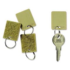 """Hook & Loop Fastener Replacement Key Tag, 1 1/4"""", Square, Tan, 12/PK"""