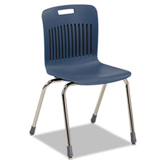 Analogy Extra-Large Ergonomic Stack Chair, Navy/Chrome, 4/Carton