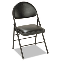 XL Folding Chairs, Vinyl Seat & Back, Black, 4/Carton CSC60973BLK4