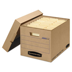 Filing Storage Box with Locking Lid, Letter/Legal, Kraft, 25/Carton