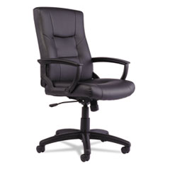 Alera® YR Series Executive High-Back Swivel/Tilt Leather Chair, Black ALEYR4119