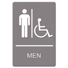 ADA Sign, Men Restroom Wheelchair Accessible Symbol, Molded Plastic, 6 x 9, Gray USS4815
