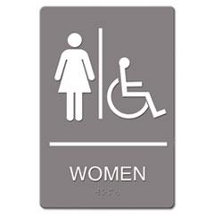 ADA Sign, Women Restroom Wheelchair Accessible Symbol, Molded Plastic, 6 x 9 USS4814