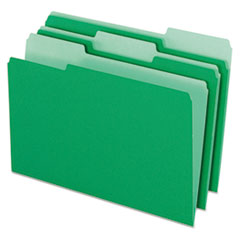 Colored File Folders, 1/3 Cut Top Tab, Legal, Green/Light Green, 100/Box
