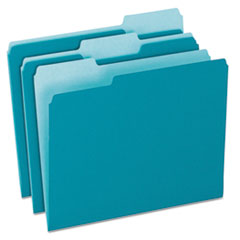 Colored File Folders, 1/3 Cut Top Tab, Letter, Teal/Light Teal, 100/Box