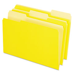 Colored File Folders, 1/3 Cut Top Tab, Legal, Yellow, Light Yellow, 100/Box