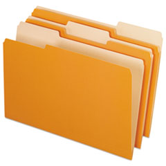 Colored File Folders, 1/3 Cut Top Tab, Legal, Orange/Light Orange, 100/Box