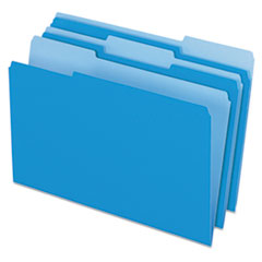 Colored File Folders, 1/3 Cut Top Tab, Legal, Blue/Light Blue, 100/Box