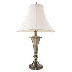 "Three-Way Incandescent Table Lamp with Bell Shade, 27-3/4""h, Antique Brass LEDL9002"