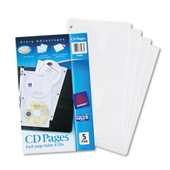 Two-Sided CD Organizer Sheets for Three-Ring Binder, 5/Pack