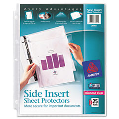 Secure Side-Load Sheet Protectors, Heavy Gauge, Letter, Diamond Clear, 25/Pack