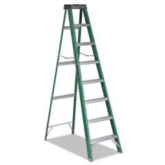#592 Eight-Foot Folding Fiberglass Step Ladder, Green/Black DADFS4008