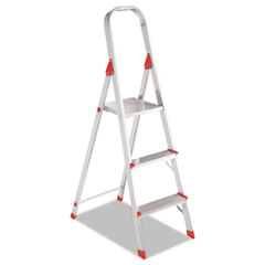 #566 Three-Step Folding Aluminum Euro Platform Ladder, Aluminum/Red DADL234603