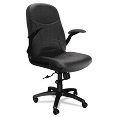 Big & Tall Series Executive Pivot-Arm Chair, Black Leather