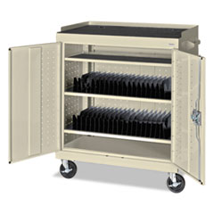 Mobile Tablet Storage Cart, 36w x 24d x 43h, Putty