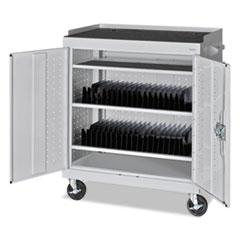 Mobile Tablet Storage Cart, 36w x 24d x 43h, Light Gray