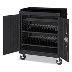 Mobile Tablet Storage Cart, 36w x 24d x 43h, Black