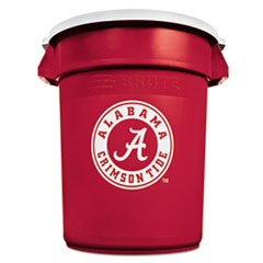 Rubbermaid * Team Brute Round Container w/Lid, Alabama Crim Tide, 32Gal, Plastic, Red/White at Sears.com
