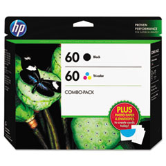 HP 60, (D8J23FN) 2-pack Black/Tri-color Original Ink w/Photo Paper/Envelopes