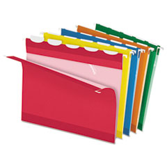 Colored Reinforced Hanging Folders, 1/5 Tab, Letter, Asst, 25/Box