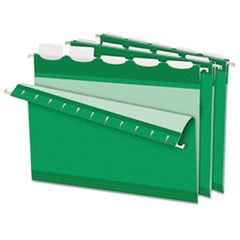 Colored Reinforced Hanging Folders, 1/5 Tab, Letter, Bright Green, 25/Box