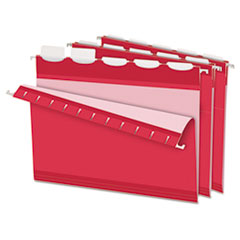 Colored Reinforced Hanging Folders, 1/5 Tab, Letter, Red, 25/Box