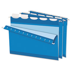 Colored Reinforced Hanging Folders, 1/5 Tab, Letter, Blue, 25/BX