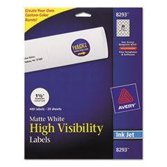 Color Printing Mailing Labels, 1 1/2 dia, White, 400/Pack