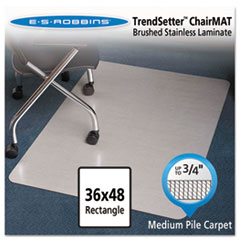 "Stainless 48x36 Rectangle Chair Mat, Design Series for Carpet up to 3/4"" ESR119337"