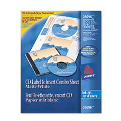 CD/DVD Label and Insert Combo Sheets, Matte White, 20 Labels and 20 Inserts