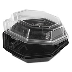 Octagon_Hinged_Carryout_Container_Plastic_Black_Base_Clear_16_oz_150_Carton