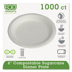 "Compostable Sugarcane Dinnerware, 6"" Plate, Natural White, 1000/Carton ECOEPP016PKCT"