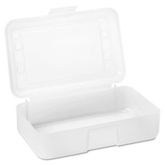 Gem Polypropylene Pencil Box with Lid, Clear, 8 1/2 x 5 1/2 x 2 1/2