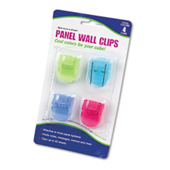 Fabric Panel Wall Clips, Standard Size, Assorted Cool Colors, 4/Pack