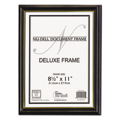 Deluxe Wood Document Frame, Plastic Face, 8-1/2 x 11, Black NUD17081