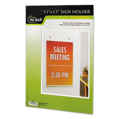 Clear Plastic Sign Holder, Wall Mount, 11 x 17 NUD38017Z