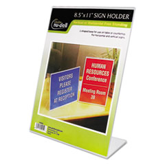 Clear Plastic Sign Holder, Stand-Up, Slanted, 8 1/2 x 11 NUD35485Z