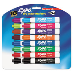 Low Odor Dry Erase Marker, Chisel Tip, Assorted, 16/Set