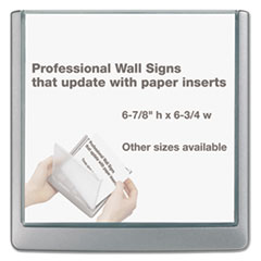 Click Sign Holder For Interior Walls, 6 3/4 x 5/8 x 6 7/8, Gray